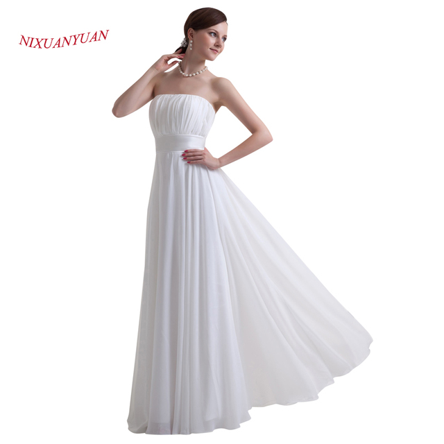 NIXUANYUAN Simple A Line Evening Dress 2017 Strapless Pleat White ...