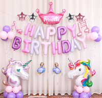 1set Cartoon Happy Birthday Party Decoration Set Balloons Crown Pink Globo Party Supplies Girls Birthday Balloons Decoration