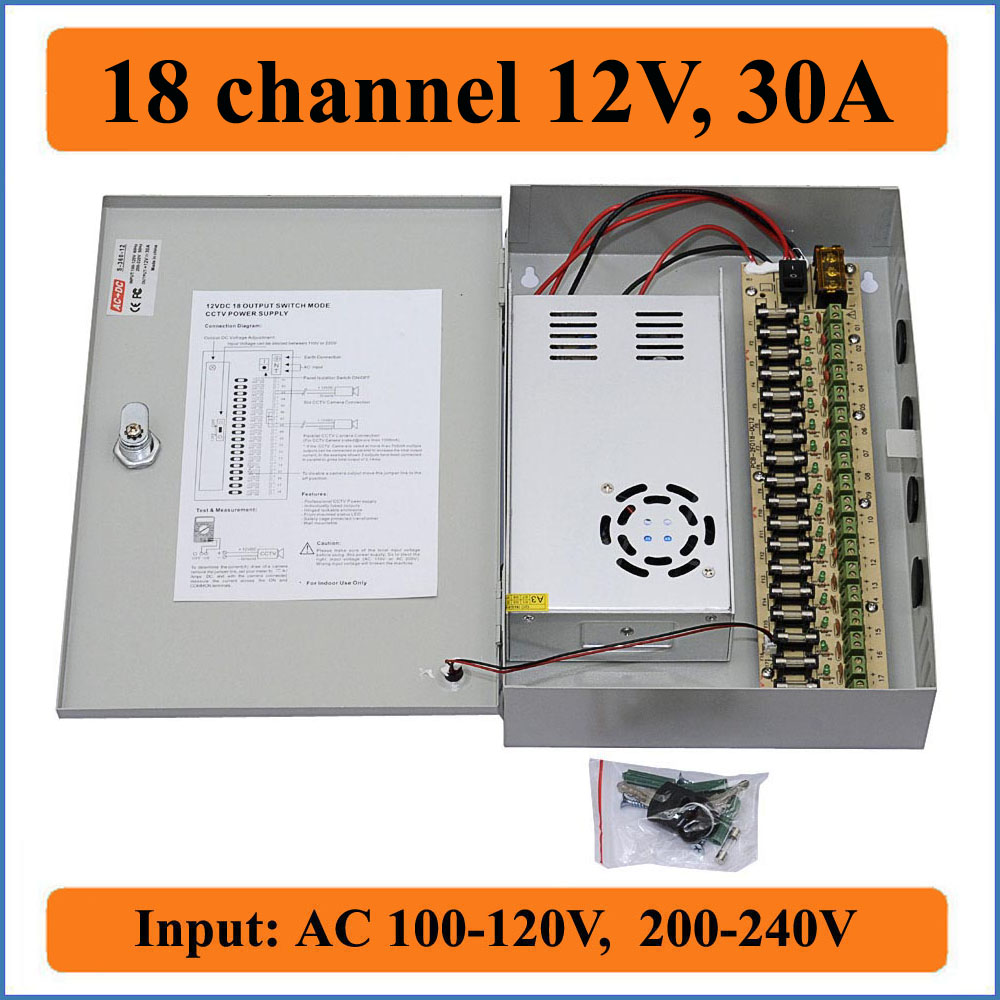 18 channel DC12V 30A CCTV Camera Power Box IR Illuminator Control for DVR CCTV Cameras switching Power Supply Box 18CH Port 30A 16ch cctv power supply 12v 10a cctv camera ptz ir illuminator cctv power box for cctv security camera