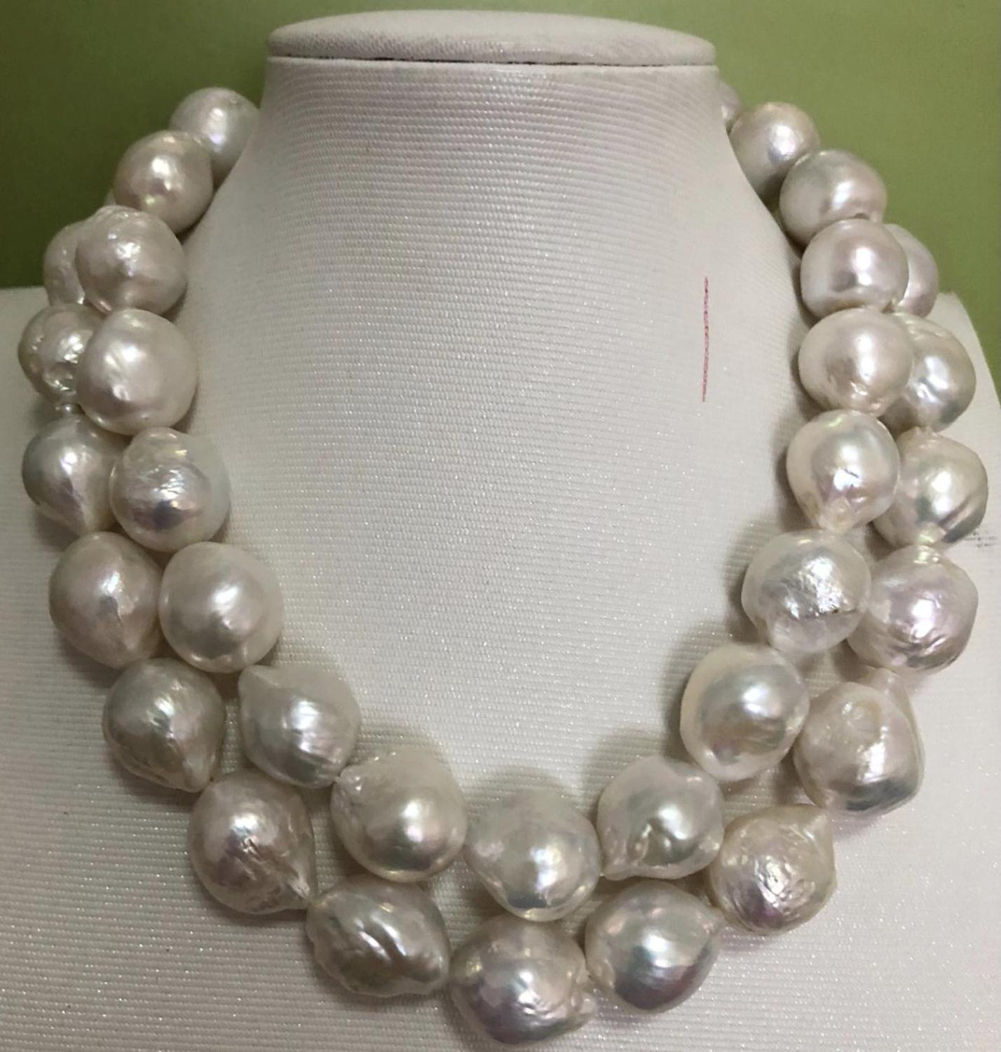 """18/""""11-15MM natural south sea genuine golden pink potato pearl necklace"""
