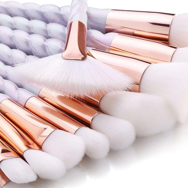 RANCAI Professional 10pcs Makeup Brushes Set Powder Foundation Blush Face Shading Eyebrow  White Handle Cosmetics Makeup Brushes 3