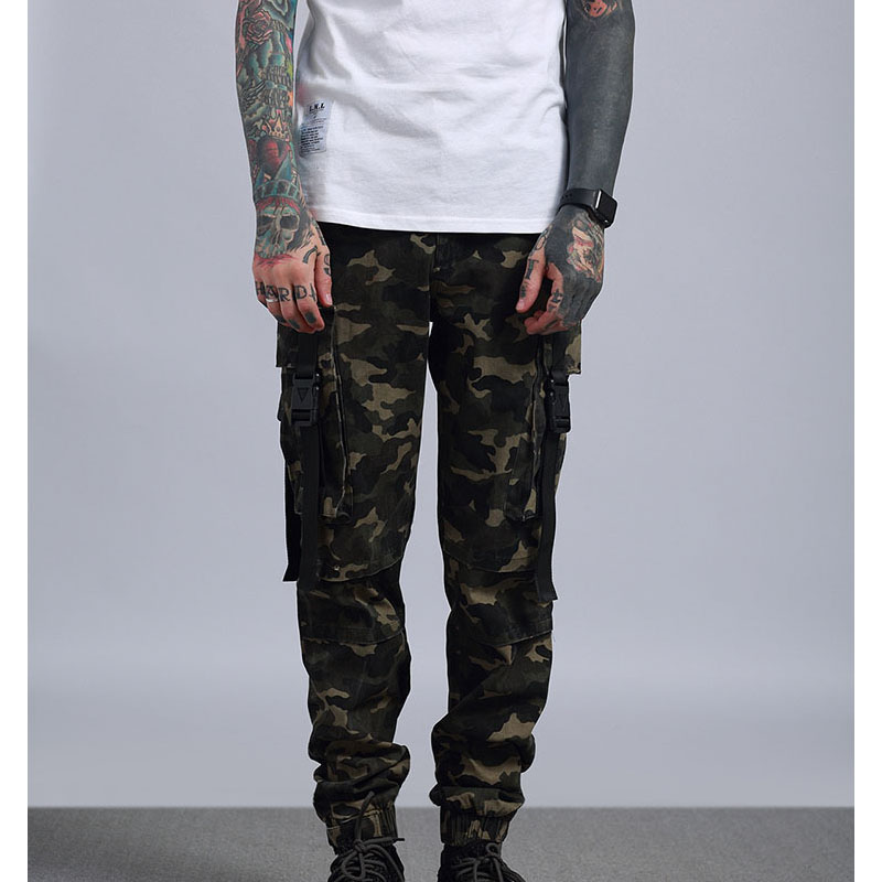 2018 High street Big pocket Military camouflage cargo pants man male Joggers causal Stre ...