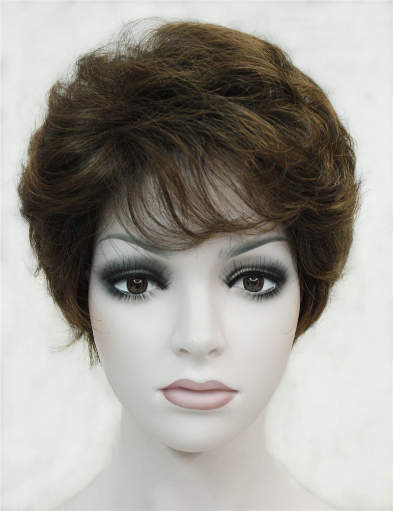 Strong Beauty Synthetic Classical Short Curly Natural Blond Brown Wigs Full Capless Women Wig
