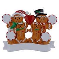 Commercio all'ingrosso Gingerbread Famiglia Di 4 Resina Ornamenti Di Natale Con Red Apple Come Regali Personalizzati Per La Decorazione di Vacanza