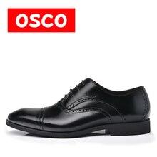 Nueva Llegada de Calidad Superior de Cuero Casual de Negocios manShoes MenOxfords Negro Clásico Vestido de Boda Zapatos de Marca OSCO # RU0006