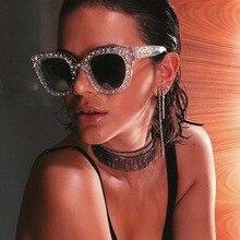 3c252fb8f6b Retro Vintage Crystal Square Oversized Cat Eye Sunglasses Women Shining Sun Glasses  Female Clear Lens Summer