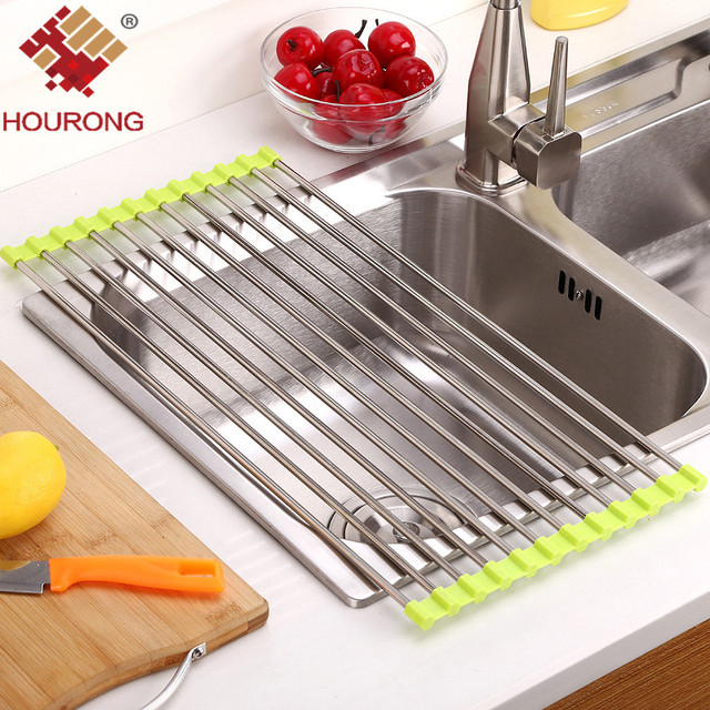 1PC Foldable Drain Rack Kitchen Sink Shelf Stainless Steel Multifunction  Roll Up Dish Drying Rack Folding