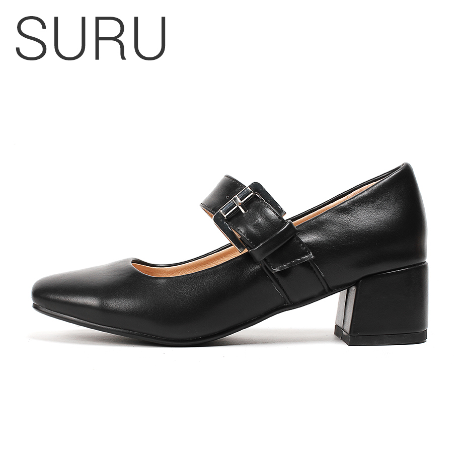 SURU Mary Janes Shoes Women Buckle Black Borwn Beige Flare Heel Pumps Ladies Square Toe Office Shoe Plus Small or Big Size 32-44SURU Mary Janes Shoes Women Buckle Black Borwn Beige Flare Heel Pumps Ladies Square Toe Office Shoe Plus Small or Big Size 32-44