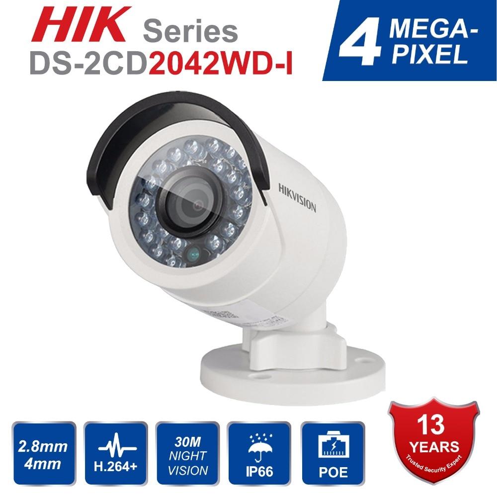Originale Hikvision Ds-DS-2CD2042WD-I Full HD 4MP Versione Inglese Della Pallottola di Rete Telecamera A CIRCUITO CHIUSO Ad Alta Risoluzione 120db WDR POE IP di IR