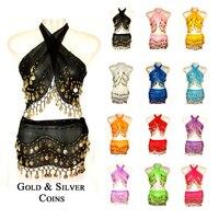 2015 New 2 Pieces Belly Dance Costume Set Warp Hip Scarf Belt Indian Style Golden Coins