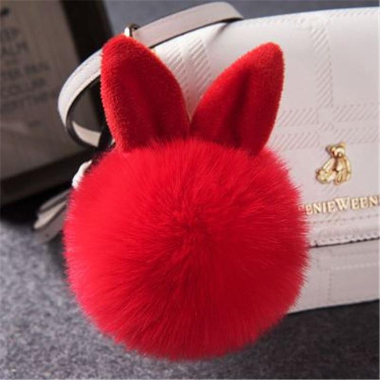 2017 Fur Pom Pom Keychain Fake Rabbit fur ball key chain porte clef pompom de fourrure pompon Bag Charms bunny keychain Keyring 41