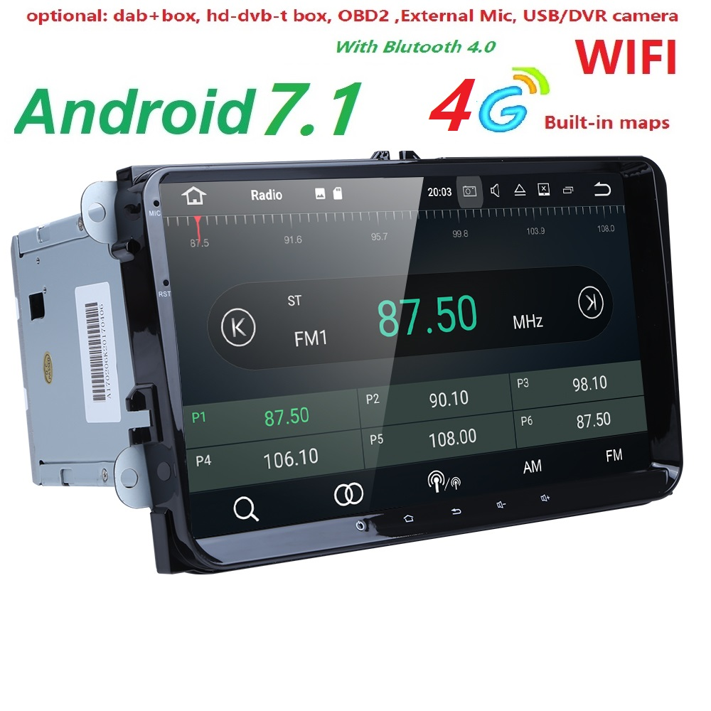 2Din 9Android 7.1 Car DVD Player Stereo Radio for VW GOLF 5 Golf 6 Polo Passat CC Jetta Tiguan Touran GPS Navigation 2G RAM 4G joying px5 octa 8 core 2gb ram android 8 0 car radio player for vw golf 5 6 polo passat jetta tiguan touran eos gps navigation