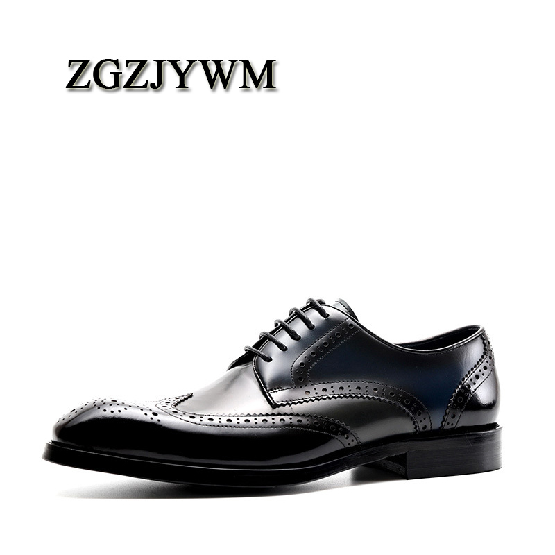 ZGZJYWM Fashion Spring/Autumn Luxury Black/Red Genuine   Leather   Lace-Up Buckle Pointed Toe Dress Business Oxfords Shoes For Men