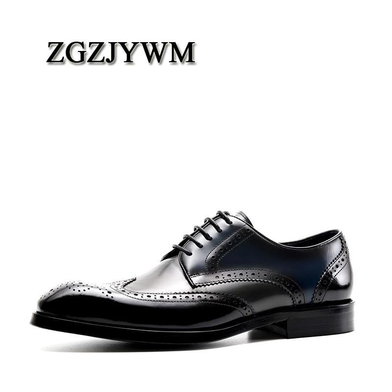 ZGZJYWM moda wiosna/jesień luksusowe czarny/czerwony prawdziwej skóry Lace Up klamra Pointed Toe sukienka biznes oksfordzie buty dla mężczyzn w Buty wizytowe od Buty na  Grupa 1