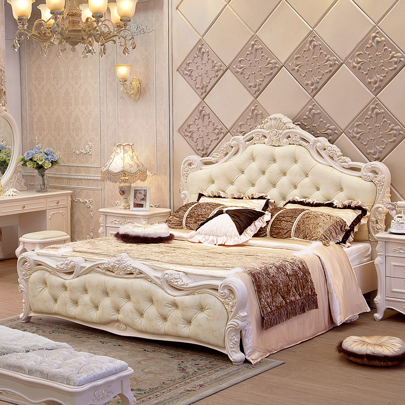 European Style Bed M Double High Box Bed Soft Package Back