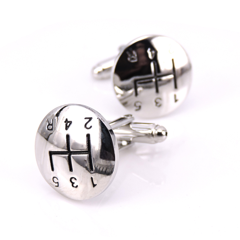 WN stainless steel of high quality sports cars logo manual gear silver cufflinks French shirts cufflinks fashion novelty gifts