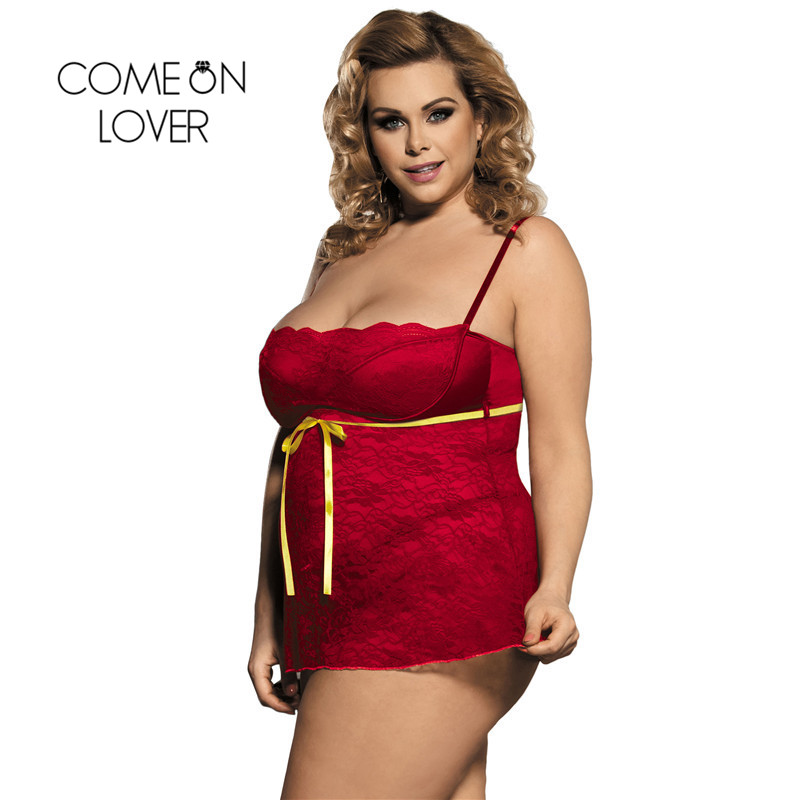 Comeonlover Women Plus Size Erotic Red Lingerie New Pron Sexy Lingerie Transparent Exotic Dress +G String Sexy Babydoll RI80247 1