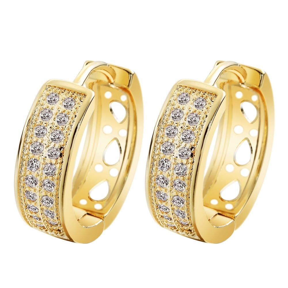 QIAMNI 24K Beautiful Cubic Zirconia Round Hoop Earrings ...