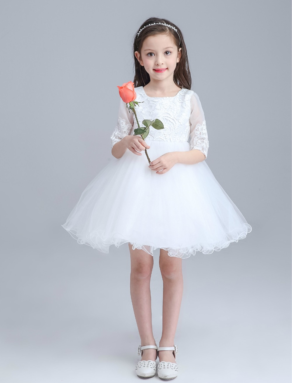 White Girls Dress Children Girls Beauty Pageant Dress Bow Lace