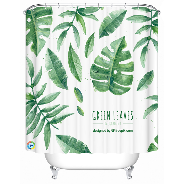Green Leaves Waterproof Bathroom Shower Curtain Vintage Polyester Kitchen Curtains Children Room Door Screen