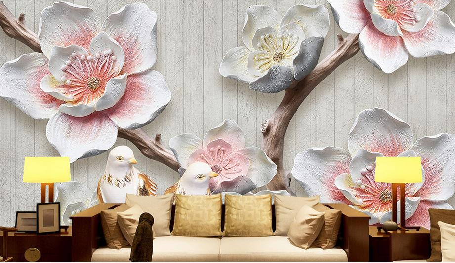 Custom Photo Wall Paper 3D Relief Plum blossom Birdie Mural Wallpaper Living Room Sofa TV Backdrop Retro Seamless Wall Covering custom baby wallpaper snow white and the seven dwarfs bedroom for the children s room mural backdrop stereoscopic 3d
