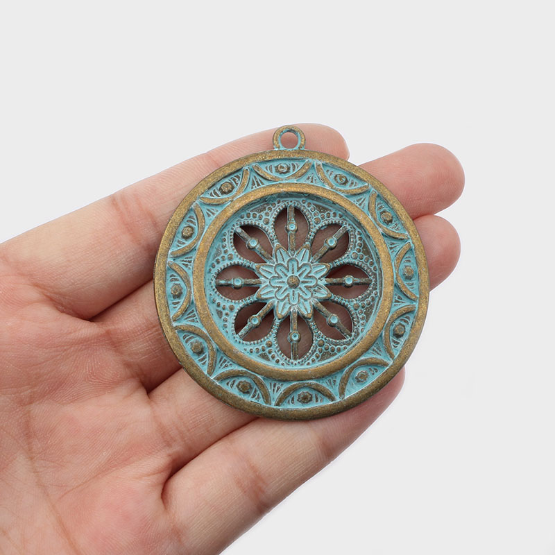 Bronze Verdigris Patina Dreamcatcher Charms Pendants Jewelry Findings 28*28mm