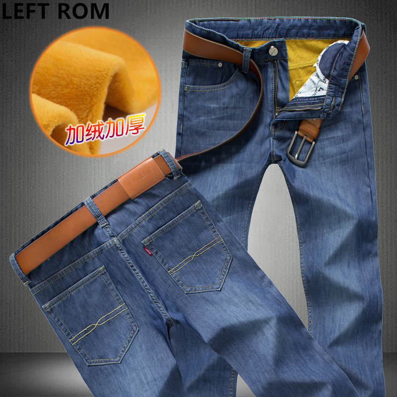 LEFT ROM man 2017 winter Business affairs pure color thickening Quality Comfortable fashion Hommes Leisure Keep warm Jeans 28-46 футболка maritime affairs 2015 da1496