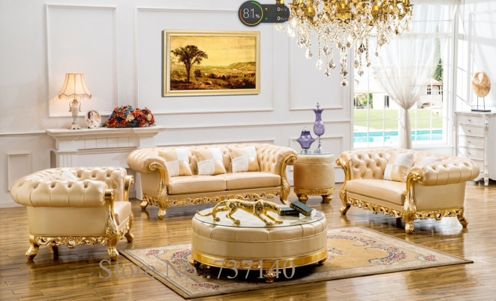 Sectional Sofa Leather Sofa European Style Leather Sofa Solid Wood Carving  Antique Leather Sofa Buying Agent Wholesale Price