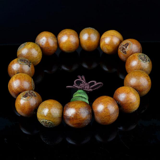 2015 Free shipping 15mm natural green sandalwood font b bracelets b font female and male font