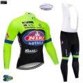 Зима 2019 Pro Tour de Italia веломайка Fluo длинные Комплекты термо флис Ropa De Ciclismo Invierno MTB велосипедная одежда 12D