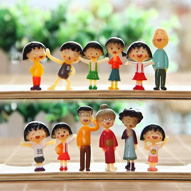 12 шт./лот Chibi Maruko-Chan поделки фигурку куклы аниме ПВХ модель микро-Пейзаж орнамент сада подарка Игрушечные лошадки