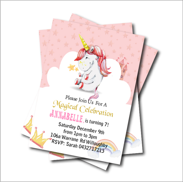 Us 539 40 Di Sconto14 Pzlotto Unicorno Inviti Festa Di Compleanno Del Bambino Magico Doccia Invita I Bambini Di Compleanno Decorazione Del
