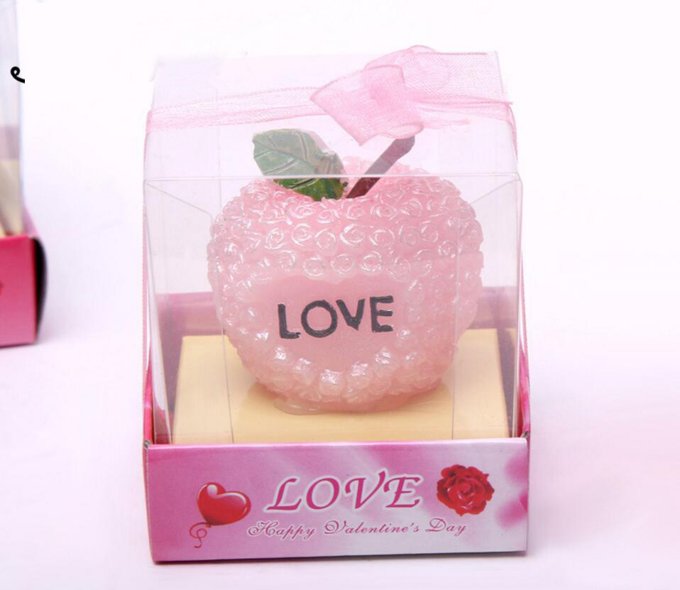 10pcs Pink/Red Rose Flower Love Apple Candle For Wedding Party ...