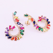2Pair Trendy Jewelry Gold Filled Rainbow CZ Zirconia Studs New Colorful Girl Women earring