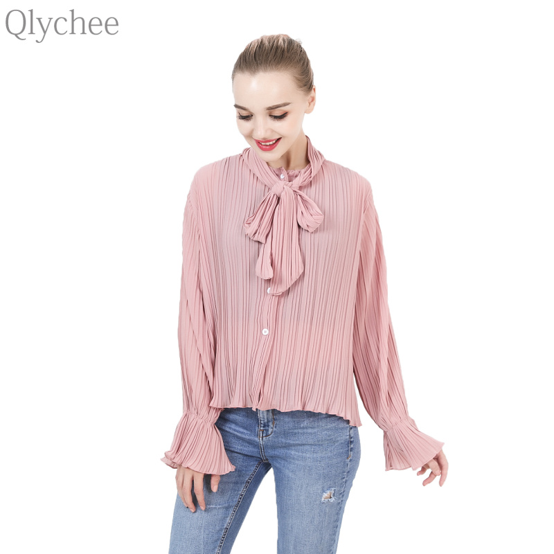 Qlychee Cute Spring Women Chiffon T Shirt Summer Flare Sleeve Bow Pleated Chiffon Tops Casual Single-breasted Top