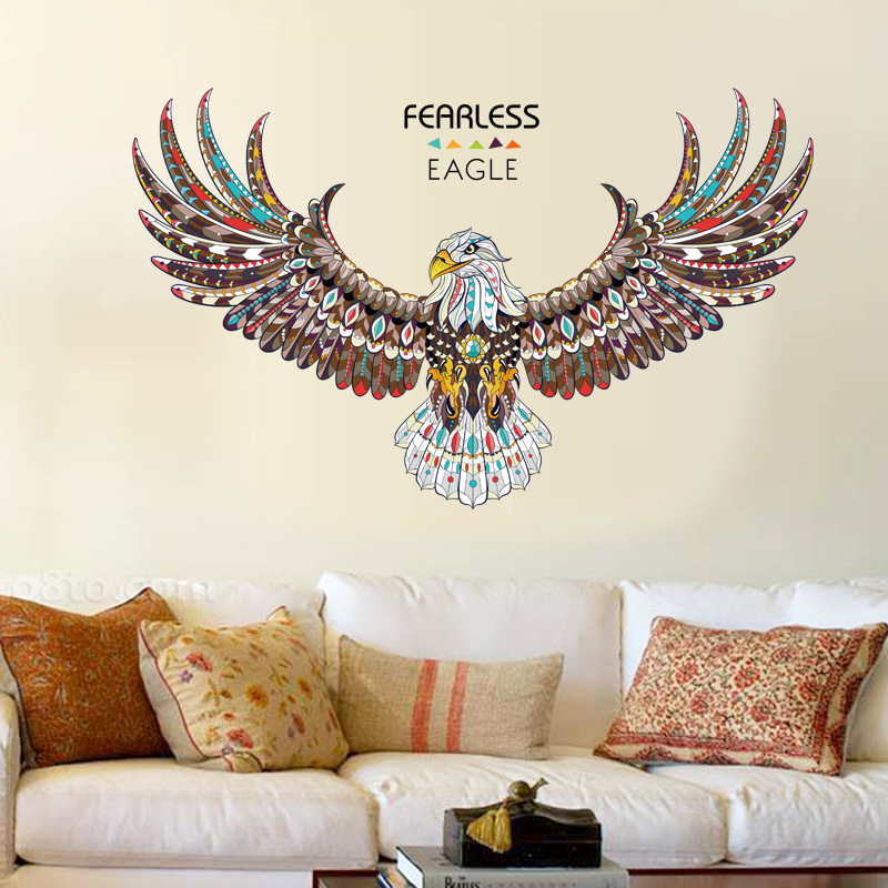 Big Fealess Eagle Inspiring Wall Stickers Office Living Room Sofa Background Removable Decor Decal Self Adhesive DIY Wall Mural