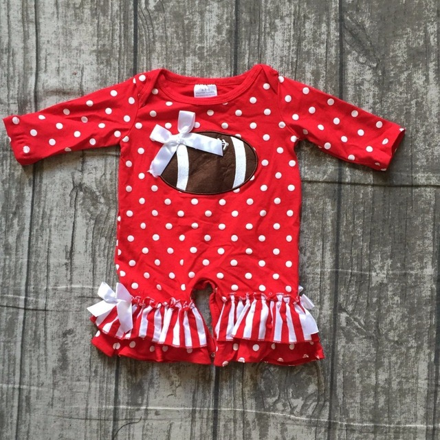 6d8dbf9893e girls football jumpsuits sets infant toddler baby girls football romper  baby infant girls red white polka dot romper clothing