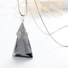 Женское геометрическое длинное ожерелье с кристаллами Модная