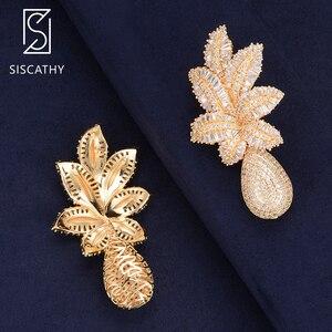 Image 5 - SISCATHY luksusowe kwiat liście spadek kolczyki Trendy cyrkonia biżuteria ślubna nigerii długie wypadania Dangle kolczyki dla kobiet