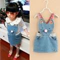 Новый 2015 детская одежды новорожденных девочек одеваться джинсовое платье дети милые платья девушка комбинезоны свободного покроя комбинезон 2-6Y