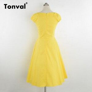 Image 5 - فستان أصفر عتيق من Tonval بأكمام قصيرة للنساء لصيف 2020 فساتين كلاسيكية من القطن بولكا دوت روكابيلي