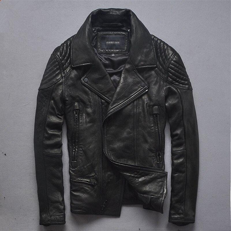 75df3473a US $268.5 25% OFF|2016 slim fit leather biker jacket men Itlay import  sheepskin fashion leather jacket men korean style motorcycle jacket for  men-in ...