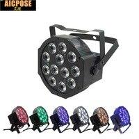12x12W led Par lights RGBWA UV 6in1 flat par led dmx512 control Can Par 64 led spotlight dj projector wash lighting stage light