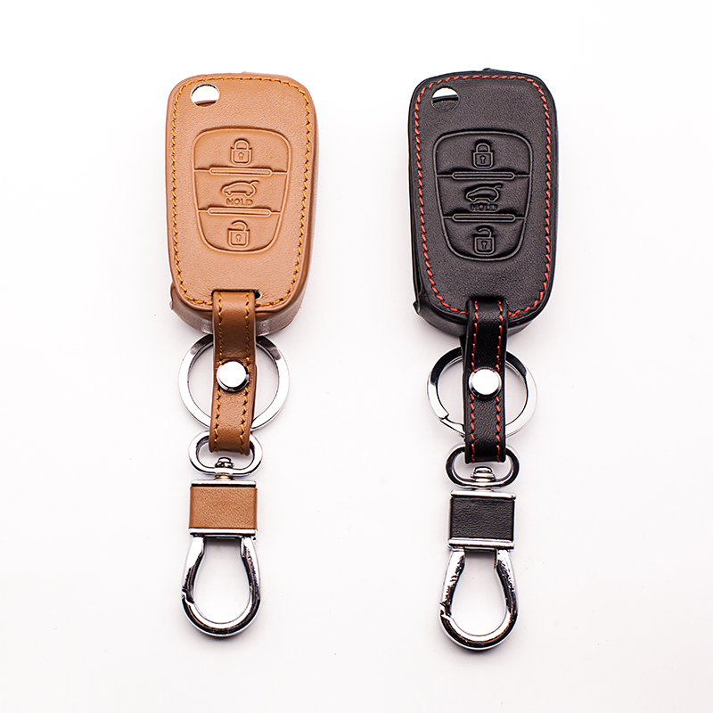 New genuine leather car key cover for Kia K5 RIO K2 Pro Ceed Cerato Sportage Sorento Hyundai i20 i30 i35 iX20 iX35 Solaris Verna 1pcs silicone key case cover flip folding holder protecting for kia rio k2 k5 k7 sportage sorento soul pro ceed cerato 3 buttons