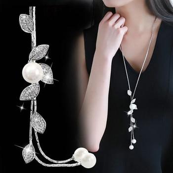 RAVIMOUR Simulé Perle de Foulard Colliers pour Femmes Couleur Argent À Longue Chaîne Collier Pendentif Bijoux Accessoires À La Mode Kolye