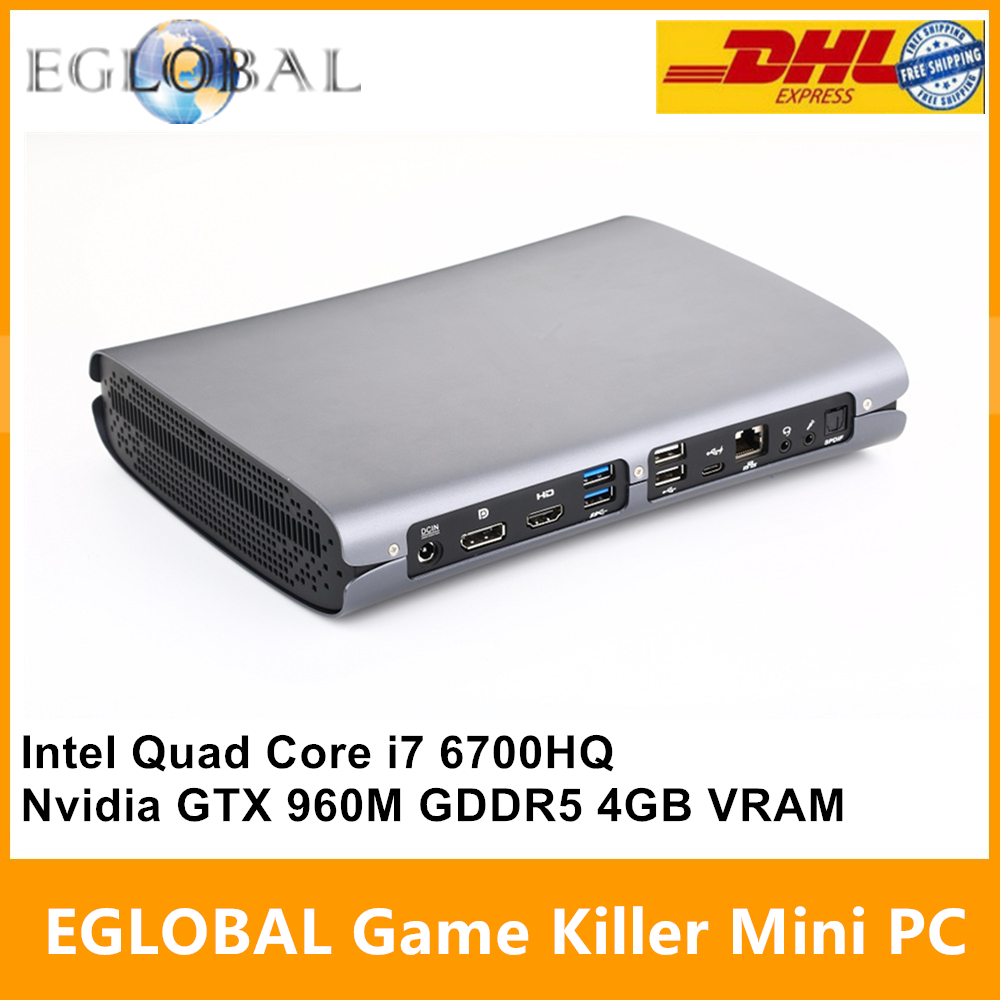 Eglobal Game Killer Mini PC Computer Intel Quad Core i7 6700HQ GTX 960M GDDR5 4GB Video Ram 1*HDMI 1*DP 1*Type-C S/PDIF 5G Wifi grille