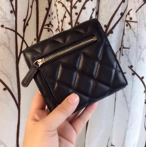 Luxury women sheepskin genuine leather Wallets designer famous brands high quality Casual feminina short purses