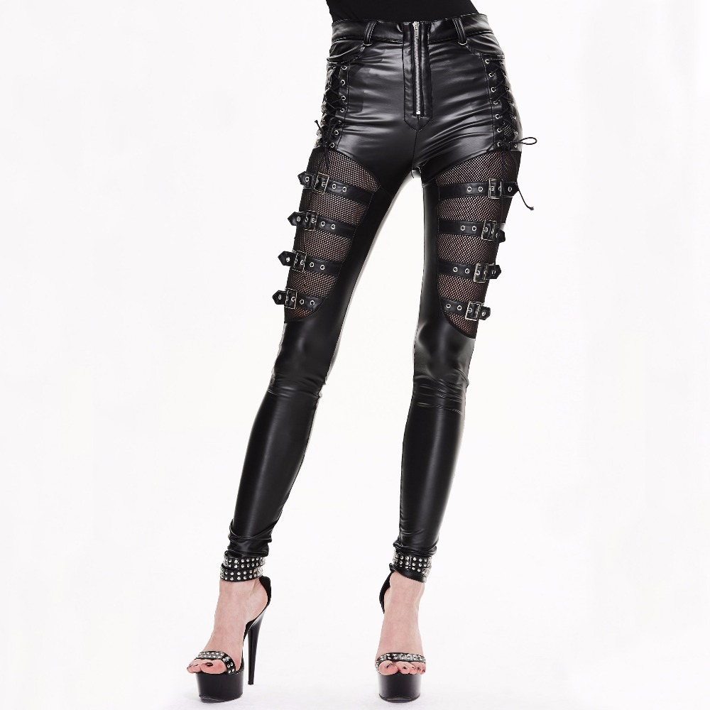 Devil Fashion Gothic Punk Mujeres Sexy Hollow Out Pantalones Steampunk Negro Pantalones largos ajustados Pantalones casuales