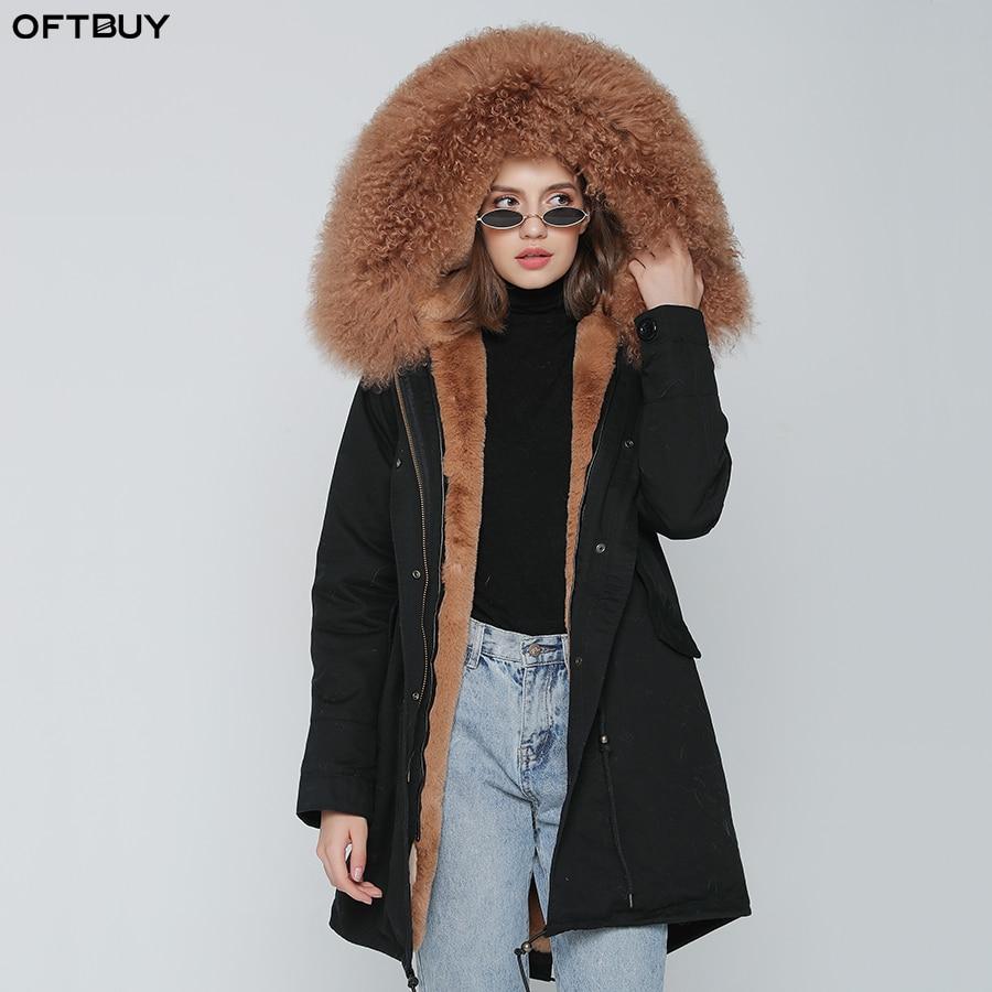 OFBUT 2019 Winter Jacket Women Real Fur Coat Long Parka Natural Mongolia Sheep Fur Collar Hood Thick Warm Streetwear Brand New