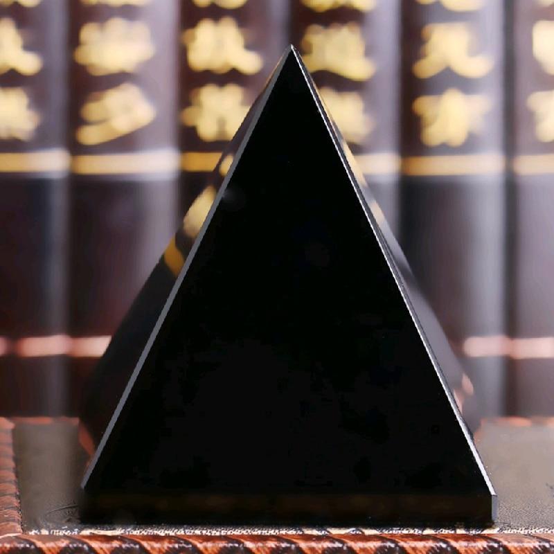 Pyramid vindecare Crystal Artizanat Negru Natural Obsidian cuarț - Decoratiune interioara - Fotografie 4